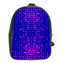 Blue And Pink Pixel Pattern School Bag (xl)