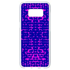 Blue And Pink Pixel Pattern Samsung Galaxy S8 White Seamless Case