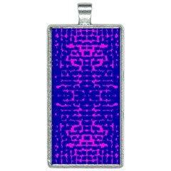 Blue And Pink Pixel Pattern Rectangle Necklace by Jojostore