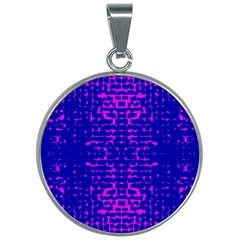 Blue And Pink Pixel Pattern 30mm Round Necklace