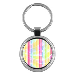 Colorful Abstract Stripes Circles And Waves Wallpaper Background Key Chains (round)  by Jojostore