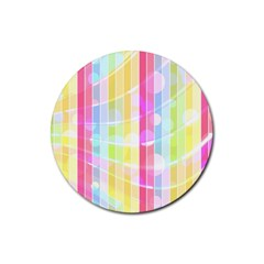 Colorful Abstract Stripes Circles And Waves Wallpaper Background Rubber Coaster (round)