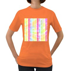Colorful Abstract Stripes Circles And Waves Wallpaper Background Women s Dark T Shirt