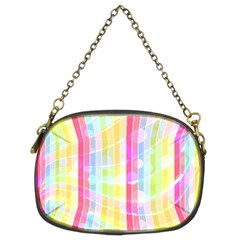 Colorful Abstract Stripes Circles And Waves Wallpaper Background Chain Purse (two Sides)