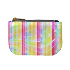 Colorful Abstract Stripes Circles And Waves Wallpaper Background Mini Coin Purse