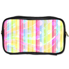 Colorful Abstract Stripes Circles And Waves Wallpaper Background Toiletries Bag (one Side) by Jojostore