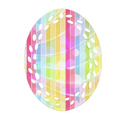 Colorful Abstract Stripes Circles And Waves Wallpaper Background Oval Filigree Ornament (two Sides)