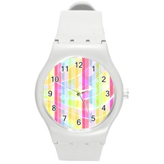 Colorful Abstract Stripes Circles And Waves Wallpaper Background Round Plastic Sport Watch (m) by Jojostore