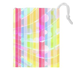 Colorful Abstract Stripes Circles And Waves Wallpaper Background Drawstring Pouch (xxl) by Jojostore