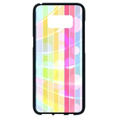 Colorful Abstract Stripes Circles And Waves Wallpaper Background Samsung Galaxy S8 Black Seamless Case