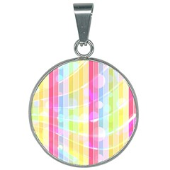 Colorful Abstract Stripes Circles And Waves Wallpaper Background 25mm Round Necklace