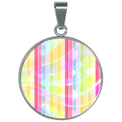 Colorful Abstract Stripes Circles And Waves Wallpaper Background 30mm Round Necklace