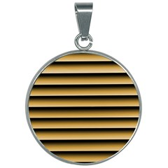 Golden Line Background 30mm Round Necklace