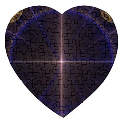Color Fractal Symmetric Blue Circle Jigsaw Puzzle (heart) by Jojostore