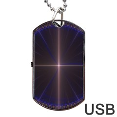 Color Fractal Symmetric Blue Circle Dog Tag Usb Flash (two Sides)