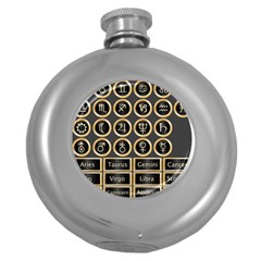 Black And Gold Buttons And Bars Depicting The Signs Of The Astrology Symbols Round Hip Flask (5 Oz) by Jojostore