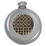 Black And Gold Buttons And Bars Depicting The Signs Of The Astrology Symbols Round Hip Flask (5 oz) Front