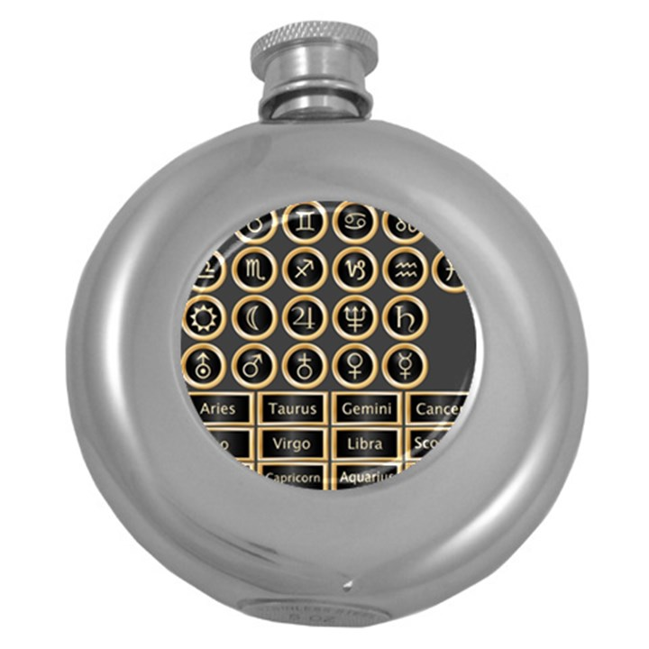 Black And Gold Buttons And Bars Depicting The Signs Of The Astrology Symbols Round Hip Flask (5 oz)