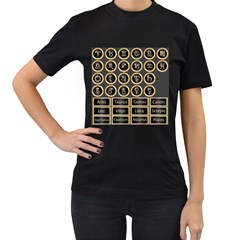Black And Gold Buttons And Bars Depicting The Signs Of The Astrology Symbols Women s T Shirt (black)
