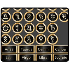 Black And Gold Buttons And Bars Depicting The Signs Of The Astrology Symbols Fleece Blanket (medium)