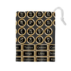 Black And Gold Buttons And Bars Depicting The Signs Of The Astrology Symbols Drawstring Pouch (large)