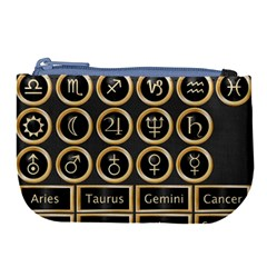 Black And Gold Buttons And Bars Depicting The Signs Of The Astrology Symbols Large Coin Purse