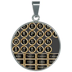 Black And Gold Buttons And Bars Depicting The Signs Of The Astrology Symbols 30mm Round Necklace