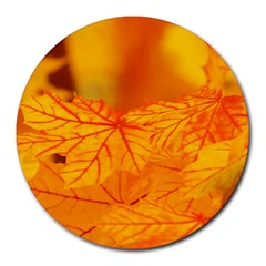Bright Yellow Autumn Leaves Round Mousepads by Jojostore