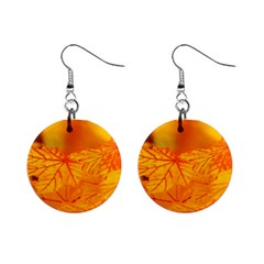 Bright Yellow Autumn Leaves Mini Button Earrings by Jojostore