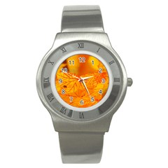 Bright Yellow Autumn Leaves Stainless Steel Watch by Jojostore