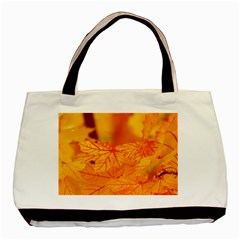 Bright Yellow Autumn Leaves Basic Tote Bag by Jojostore