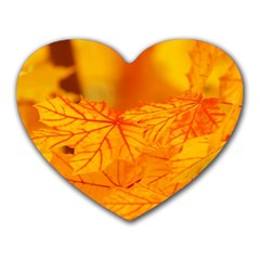 Bright Yellow Autumn Leaves Heart Mousepads