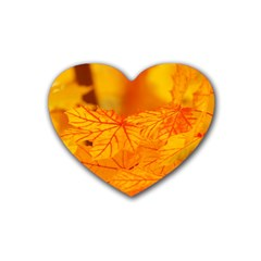 Bright Yellow Autumn Leaves Rubber Coaster (heart)
