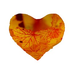 Bright Yellow Autumn Leaves Standard 16  Premium Heart Shape Cushions by Jojostore