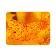 Bright Yellow Autumn Leaves Double Sided Flano Blanket (mini)  by Jojostore