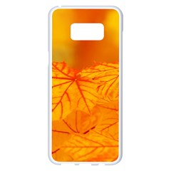 Bright Yellow Autumn Leaves Samsung Galaxy S8 Plus White Seamless Case