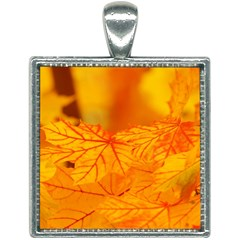 Bright Yellow Autumn Leaves Square Necklace