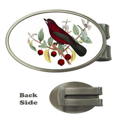 Bird On Branch Illustration Money Clips (oval)