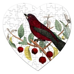 Bird On Branch Illustration Jigsaw Puzzle (heart)