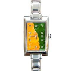 Wet Yellow And Green Leaves Abstract Pattern Rectangle Italian Charm Watch by Jojostore