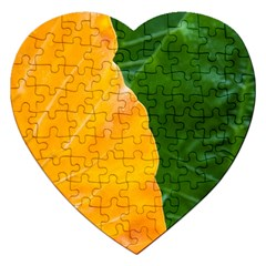 Wet Yellow And Green Leaves Abstract Pattern Jigsaw Puzzle (heart)