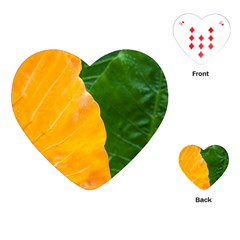 Wet Yellow And Green Leaves Abstract Pattern Playing Cards (heart)