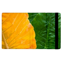 Wet Yellow And Green Leaves Abstract Pattern Apple Ipad 2 Flip Case