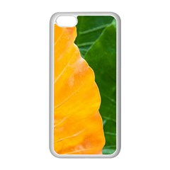 Wet Yellow And Green Leaves Abstract Pattern Apple Iphone 5c Seamless Case (white) by Jojostore
