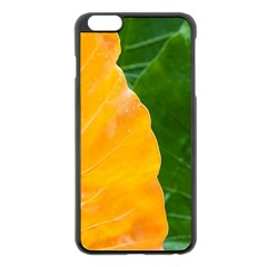 Wet Yellow And Green Leaves Abstract Pattern Apple Iphone 6 Plus/6s Plus Black Enamel Case