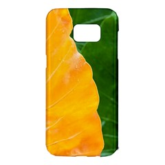 Wet Yellow And Green Leaves Abstract Pattern Samsung Galaxy S7 Edge Hardshell Case