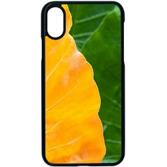 Wet Yellow And Green Leaves Abstract Pattern Apple Iphone X Seamless Case (black)