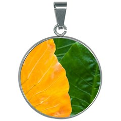 Wet Yellow And Green Leaves Abstract Pattern 30mm Round Necklace