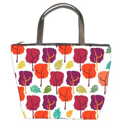 Tree Pattern Background Bucket Bag