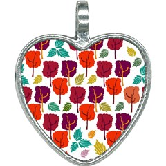 Tree Pattern Background Heart Necklace